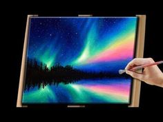 Aurora Borealis with nebula with stars   Easy First Acrylic painting for beginners,#clive5art - YouTube #OilPaintingMan