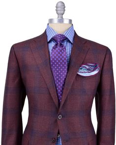 Kiton | Brick Red with Blue Plaid Sportcoat | Apparel | Men's