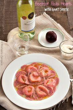 Beetroot #Pasta #Hearts with Goat Cheese - perfect for #ValentinesDay or any other romantic occasion!