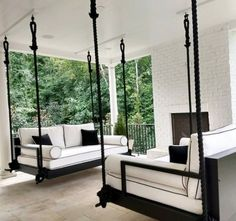Indoor/Outdoor Swing: The Charlotte Swing Bed image 2 - House Plans, Home Plan Designs, Floor Plans and Blueprints Outdoor Patio Swing, Outdoor Spaces, Porch Swing Beds, Indoor Swing, Outdoor Furniture, Indoor Outdoor Living, Outdoor Swing Beds, Furniture Ideas, Patio Bed