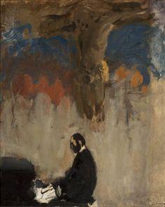 Feliks Jasieński przy organach, szkic - Leon Wyczółkowski