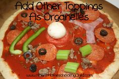 Make your own cell pizza  Might be a fun project when DD is in life sciences.  | from HowtoHomeschoolMyChild.com