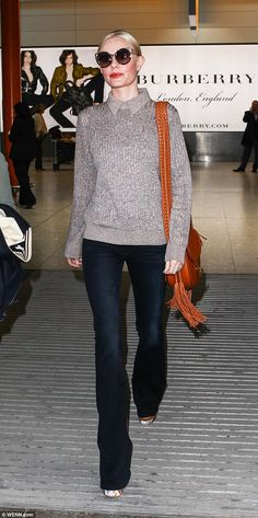 Looking good: Kate Bosworth cut a stylish figure when she landed in London on Wednesday afternoon