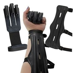 Phalanx Brand Development Archery Black Leather Style 3-Strap Arm Guard + Finger Protector Glove (2-piece set); Hunting Bow & Arrow Protective Gear / Bow Range Accessories8.5 inch arm guard has 3 stra...