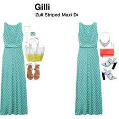 Gilli Izel Striped Maxi Dress - love the color and bias stripe.  Has the band below the chest for more empire waist-yes on that