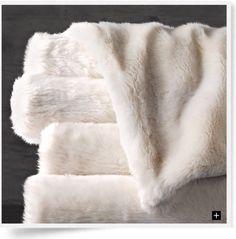 Restoration Hardware Faux Fur Oversized Bed Throw 80x96 - Arctic Fox Ivory #restorationhardware #Contemporary