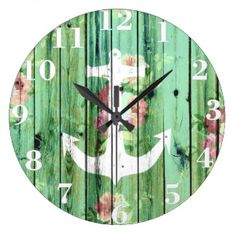 Shop White anchor floral summer green rustic wood large clock created by girly_trend. Nautical Anchor, Nautical Theme, Nautical Wedding Gifts, Green Beach, Beach Wood, Wall Clock Design, Wood Clocks, Large Clock, Sentimental Gifts
