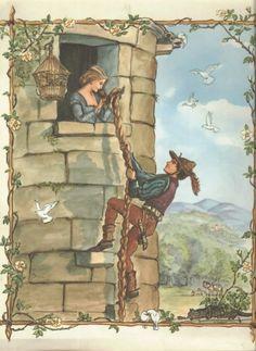 Vintage Tasha Tudor Rapunzel art -- this is the fairy tale book I had as a kid! Vintage Fairies, Vintage Art, Rapunzel Flynn, Rapunzel Dress, Die Tudors, Classic Fairy Tales, Fairytale Art, Children's Book Illustration, Book Illustrations