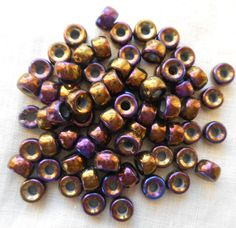 Fifty 6mm Czech Purple Iris pony roller beads, (color lot # 2) large hole iridescent multicolored glass crow beads, C2650