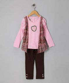 Take a look at this Pink Zigzag Faux Vest Top & Leggings - Infant & Toddler by Young Hearts on #zulily today!