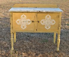 """Sideboard done in Miss Mustard Seed's """"Mustard Yellow"""" & """"Linen White"""" www.facebook.com/rusticflair"""