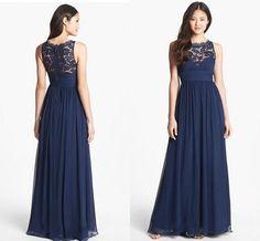 Wholesale Bridesmaid Dress - Buy Navy Blue Chiffon Long Bridesmaid Dresses Lace 2015 Floor Length Empire Waist Jewel Neckline Sheer Zipper Back Honor Bridal Maid Gowns XQ, $77.49 | DHgate