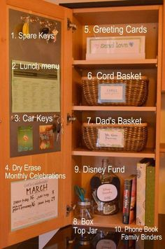 Kitchen Cabinet Organization -I like the door. Just not sure what to put in the cabinet. Change jar, cord basket, mail to be filed?