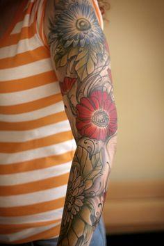 Floral sleeve by Sean Wright at Wonderland Tattoo in Portland, OR. http://wonderlandtattoospdx.tumblr.com http://wonderlandpdx.com
