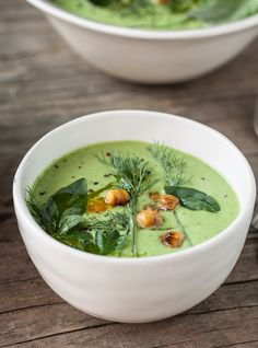 Chilled Cucumber-Tahini & Herb Soup with Cumin-Spiced Roasted Chickpeas | Dishing Up the Dirt