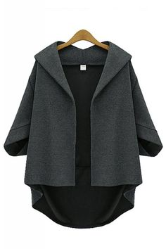 2015 New Arrival Fashion Women's Coat Plus Size Batwing-Sleeve Cardigan Casual Hooded Outwear Trench Coats Desigual Feminions Poncho Cape, Poncho Pullover, Cape Jacket, Gray Jacket, Cape Coat, Gray Blazer, Blazer Jacket, Hooded Cardigan, Hooded Jacket