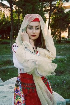 Traditional woman dress from Constanța Photo by Lili Sumanaru Folk Costume, Costumes, Macrame, Winter Hats, Traditional, Woman, Blouse, Dresses, Fashion