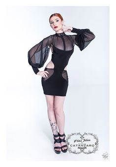 Sexy mesh cut out mini dress with bell sleeves, zip front and strappy open back. An original design by Patrice Catanzaro. Made in France. Please allow weeks delivery time. Bell Sleeve Dress, Bell Sleeves, Mesh Dress, Clubwear, Sexy Lingerie, Ballet Skirt, Feminine, Boutique, Lady