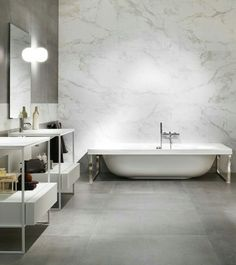 Marble look porcelain tiles with concrete like tiles