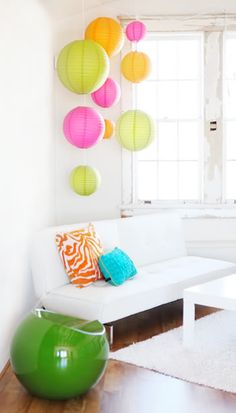 A great way to add some color to a small studio or apartment space. Choose from 50+ colors to match your decor: http://www.partylights.com/Lanterns/Lanterns-by-Color
