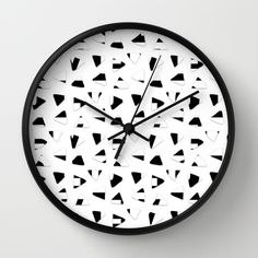 Black and White triangles Wall Clock