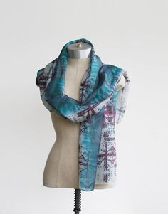 hand painted silk scarf screen printed hand dyed by 88editions #88editions #etsyfind #chaoscurators