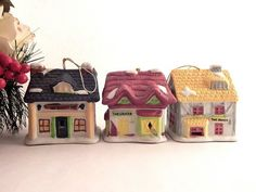 Victorian Village Bell Christmas Tree Ornaments 3 Collectible Vintage 1991…
