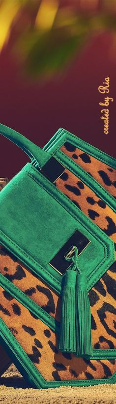 Balmain ~ Resort 2017 Green suede + Leopard print handbag