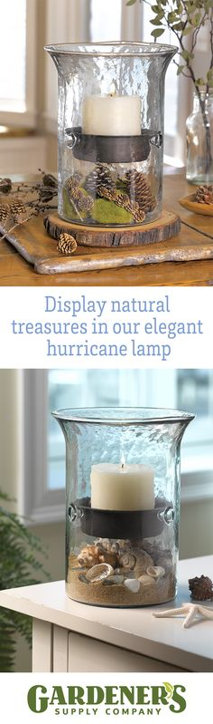 Hurricane Pillar Display.  You can make this hand-cast glass pillar candle holder even more decorative by adding seasonal items in the base. Arrange seashells and beach glass on a bed of sand, add a jumble of LED Micro Dot lights, float blossoms in water, tuck in holly branches and glass ornaments — the possibilities are endless!