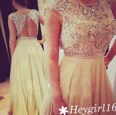 Gorgeous Beaded A-line Rpund Neckline Open Back Floor Length Prom Dress on Etsy, $199.99