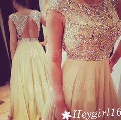 Gorgeous Beaded A-line Rpund Neckline Open Back Floor Length Prom Dress on Etsy, $199.99