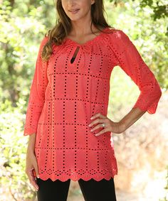Love this Coral Cutout Tunic by SR Fashions on #zulily! #zulilyfinds