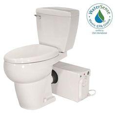 Thetford Bathroom Anywhere GPF Single Flush Elongated Toilet with Seat Macerating Pump in - The Home Depot Basement Toilet, Basement Bathroom, Pool House Bathroom, Bathroom Plumbing, Basement Apartment, Bathroom Fixtures, Apartment Ideas, Add A Bathroom, Bathroom Ideas