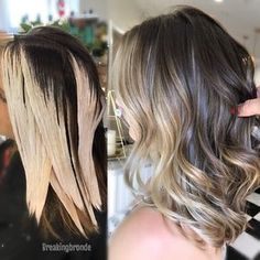 """Lauren Pettinelli (@breakingbronde) on Instagram: balayage brunette long bob """"This is our ✌️session in the lightening process, starting off on virgin hair"""""""