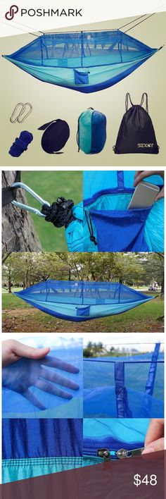 Portable hammock with mosquito net When folded into it's attached stuff-sack, you won't even know it's in your backpack! It's small and weightless. Once unfolded, it's a different story. This beauty has a spacious & supremely comfortable sleeping bed. Other