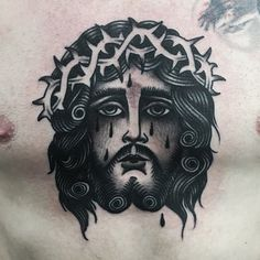 Blackwork Jesus Chest Tattoo