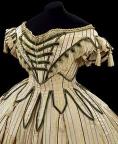 1861-63 velvet ribbon trim with tassels and fringe