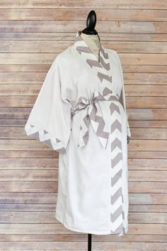 Maternity Kimono Style Robe - Gray Chevron -Coordinate as a Birthing Robe with your Maternity Hospital Gown -So Soft & Perfect for nursing