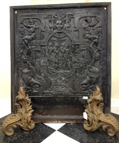 Own a piece of Boardwalk Empire history! Cast Iron Fireplace Backplate, from the Ritz Carlton. These cast iron firebacks are very similar to the stove plates of 5 & 6-sided freestanding stoves used by the Germans who immigrated and settled in Pennsylvania in the 1800's. These stoves usually represented scenes from the Bible, integrated with motifs and symbols taken from various classical mythology.