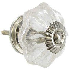"$5.99 knob:1.75"" x 2.5"" screw: 1.5""Clear Glass Scallop Crackle Knob with Metal Base | Shop Hobby Lobby"