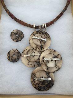 One of a kind ceramic horsehair raku necklace by Jennifer Pottner