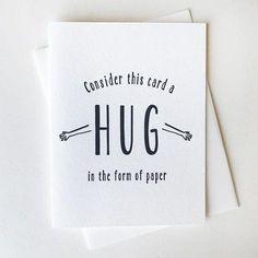 Letterpress Sympathy and Encouragement Card - Paper Hug,