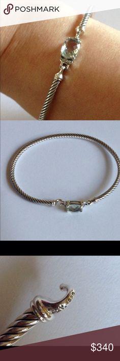DY 3mm Prasiliote Wheaton Bangle Sz Medium Faceted stone 9x7mm. Sterling silver. Pave diamond. Hallmark DY 925. Signature pouch. David Yurman Jewelry Bracelets