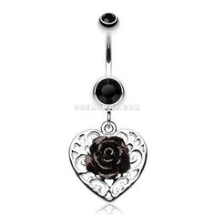Glittering Rose and Decorative Heart Belly Button Ring (Black)