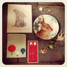 Friday Favourites 11th April with a little nod to Mr Easter Bunny, Featuring: Rabbit Print by Emily Hogarth Illustrated Plate By Magda Boreysza Umbrella Pouch by Pleased To Meet Swallow Stickers by A Wooden Tree Balloon Brooch by Lucie Ellen