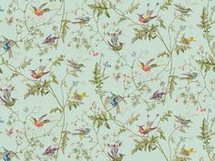 Cole & Son HUMMINGBIRDS RUBAN 62/1004.CS - Lee Jofa New - New York, NY, 62/1004.CS,Lee Jofa,Sidewall, Paper,Sidewall,Blue,Blue,Up The Bolt,United Kingdom,Yes,Cole & Son,No,HUMMINGBIRDS RUBAN Cole And Son Wallpaper, Fabric Wallpaper, Cream Wallpaper, Luxury Wallpaper, Wallpaper Ideas, Fabric Houses, Hummingbirds, Bedroom Decor, Home Bedroom