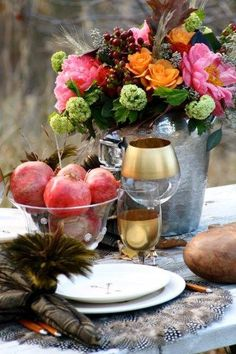 Autumn abounds in this beautiful jewel toned table design