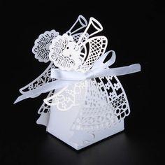 50  dragées boites  ange  blanc  contenant dragées,contenant dragees mariage,