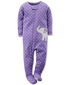 Carter's Baby Girls' Dotted Elephant Coverall