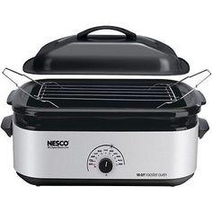 NESCO 4818-47 18-Quart Porcelain Roaster Oven (Silver)